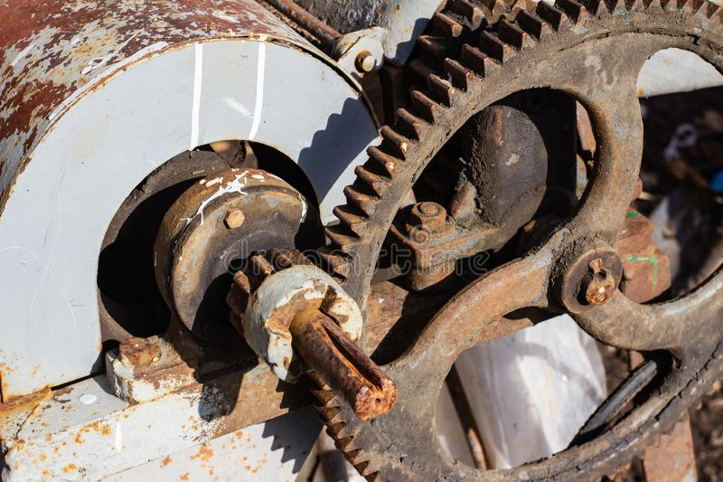 Old rusty mechanism with gears royalty free stock images
