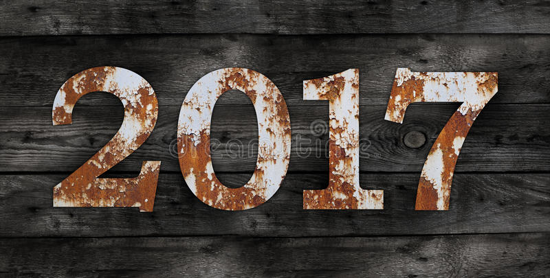 Old rusty metal alphabet, text 6 on Wooden Background stock photo