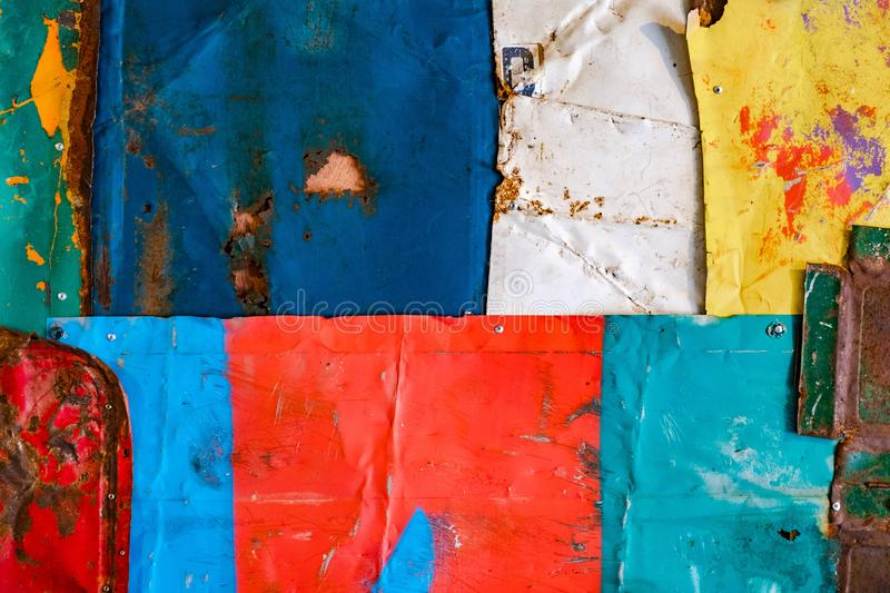 Old rusty metal background texture. grunge texture of colorful old paint surface stock images