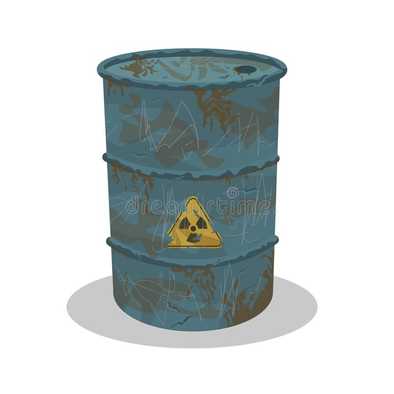 Old rusty metal barrel with scratches with radiation sign royalty free illustration