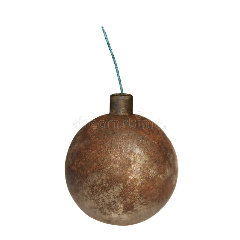 Old rusty metal bomb isolated