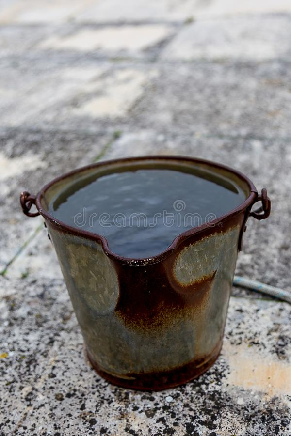 Metal Bucket With Water Stock Image Image Of Full
