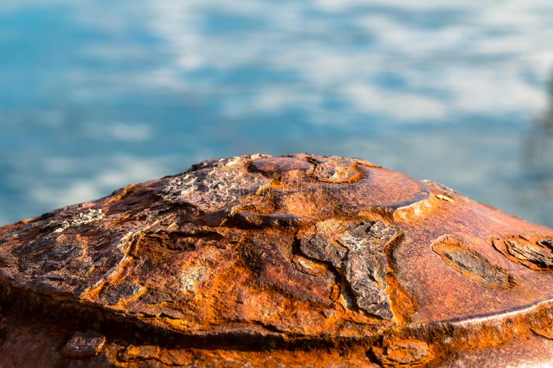 Old rusty metal corroded pier bollard stock photos