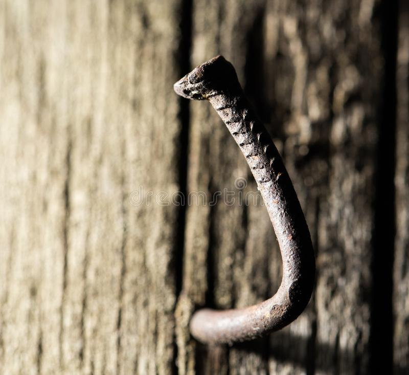 Free Old Rusty Nail In The Piece Of Wood. Macro Royalty Free Stock Photos - 104469108