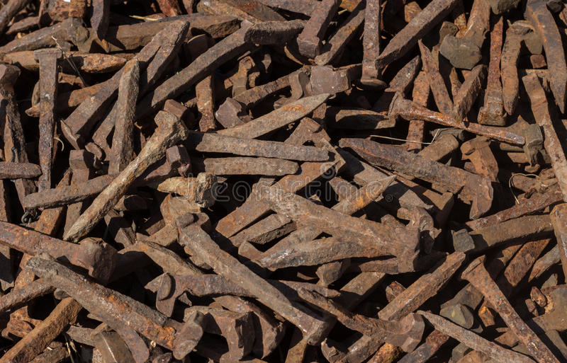 Old rusty nail texture background royalty free stock photos
