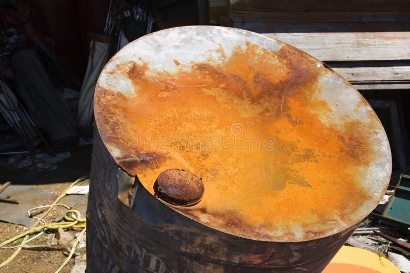 Old rusty oil barrel stock image