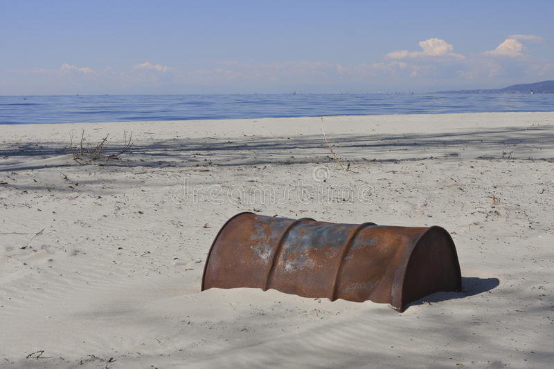 Old Rusty Oil Barrel royalty free stock photography