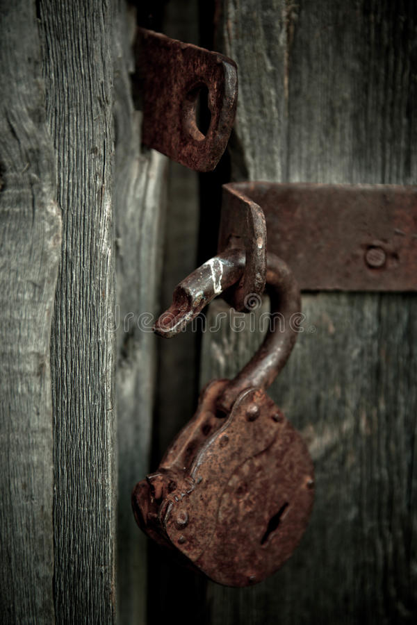 Old Rusty Opened Lock Without Key Vintage Wooden Door