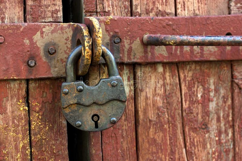 Old rusty padlock stock photo