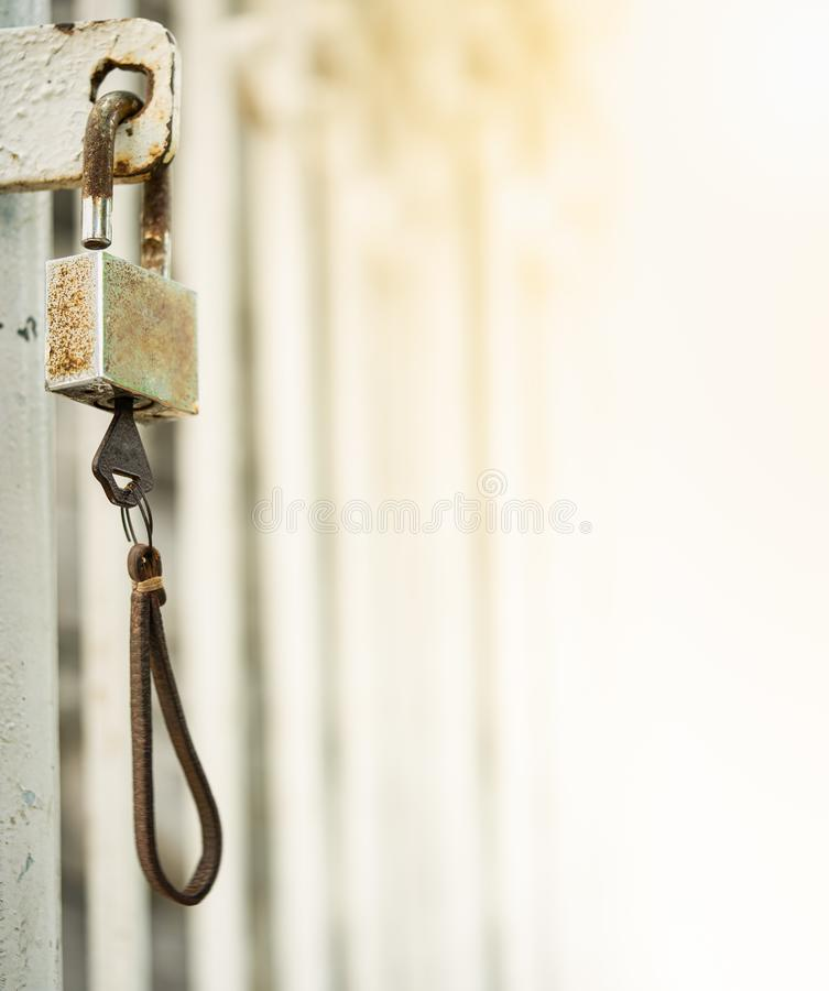 Old rusty padlock with key royalty free stock images