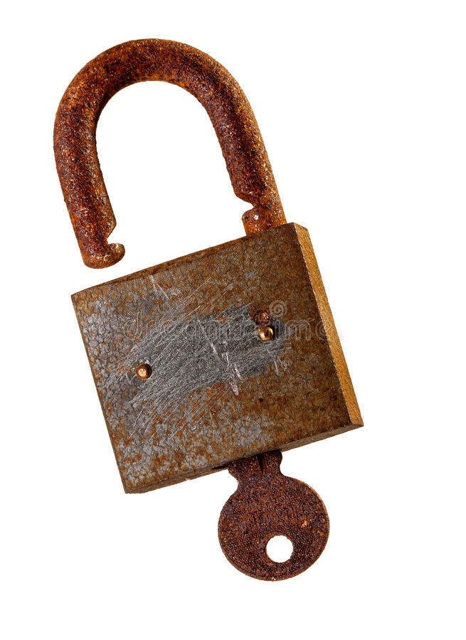Download Old Rusty Padlock And Key Over White Background.. Stock Photo - Image: 35486030