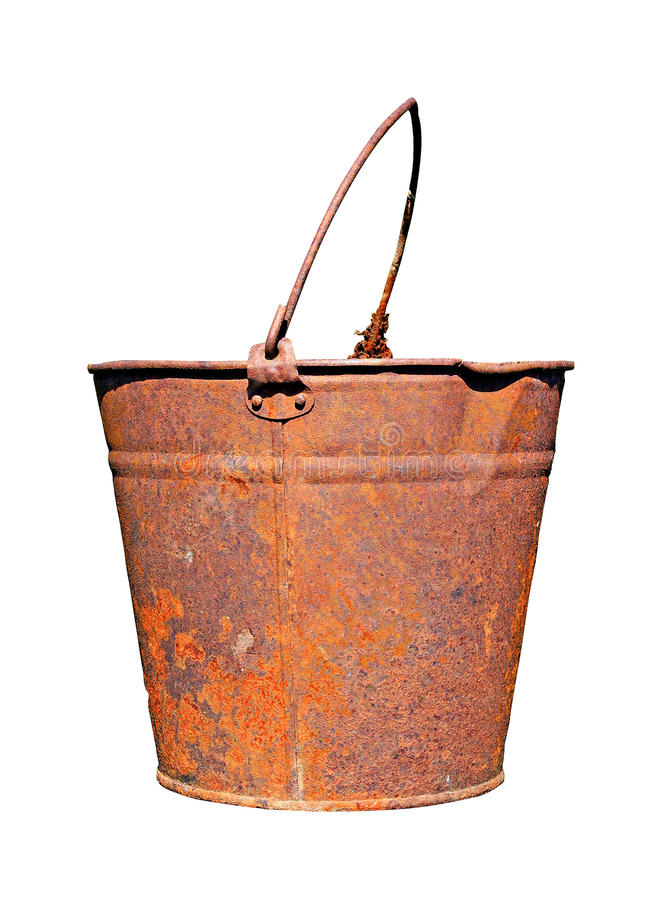 Old rusty pail. On white background royalty free stock images