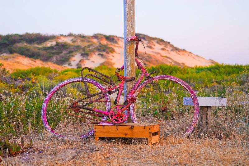 Old Rusty Pink Bike, Sand Beach, Nature, Sundown royalty free stock photos