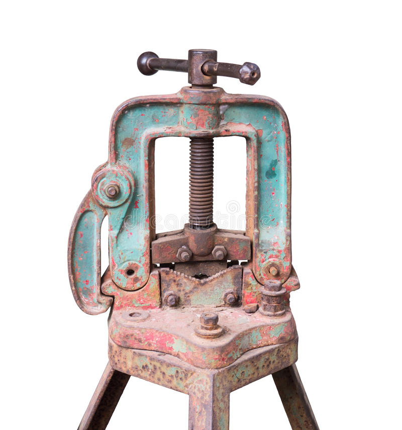 Free Old Rusty Pipe Vice Isolated On White Royalty Free Stock Photography - 39289367