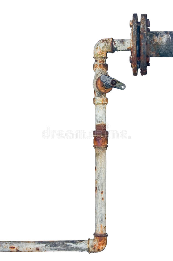 Old rusty pipes, aged weathered isolated grunge iron vertical pipeline, plumbing connection joints with industrial tap fittings. Faucets, valve royalty free stock images