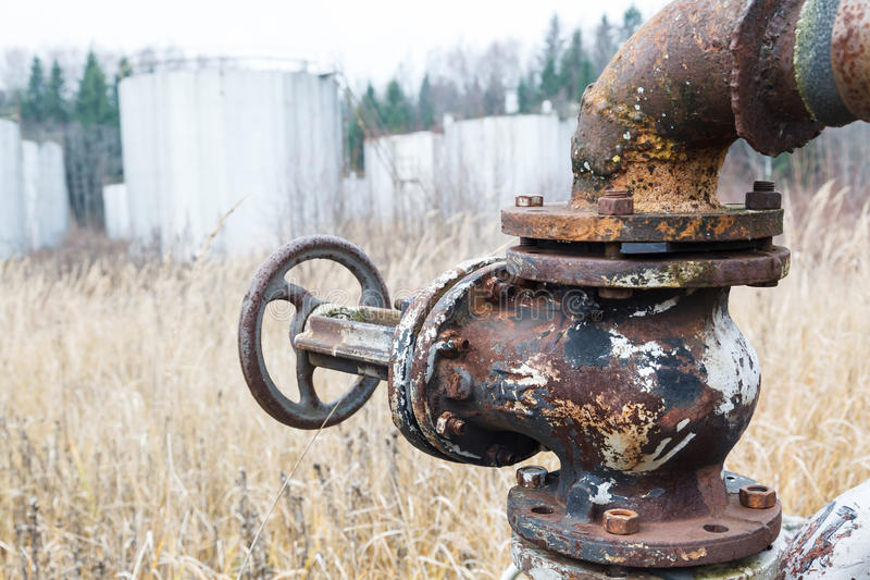 Old rusty pipes and tanks stock images