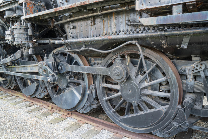 Old Rusty Railroad Locomotive Wheels royalty free stock photo