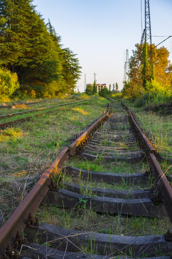 Old rusty rails of an abandoned railway leaving afar stock photography