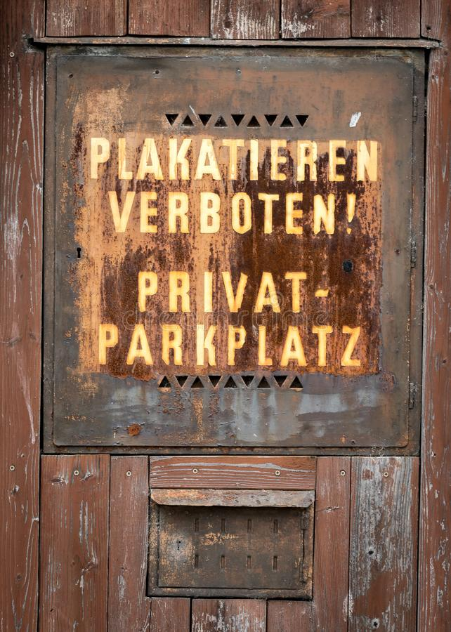 Old rusty sign for private parking space stock images