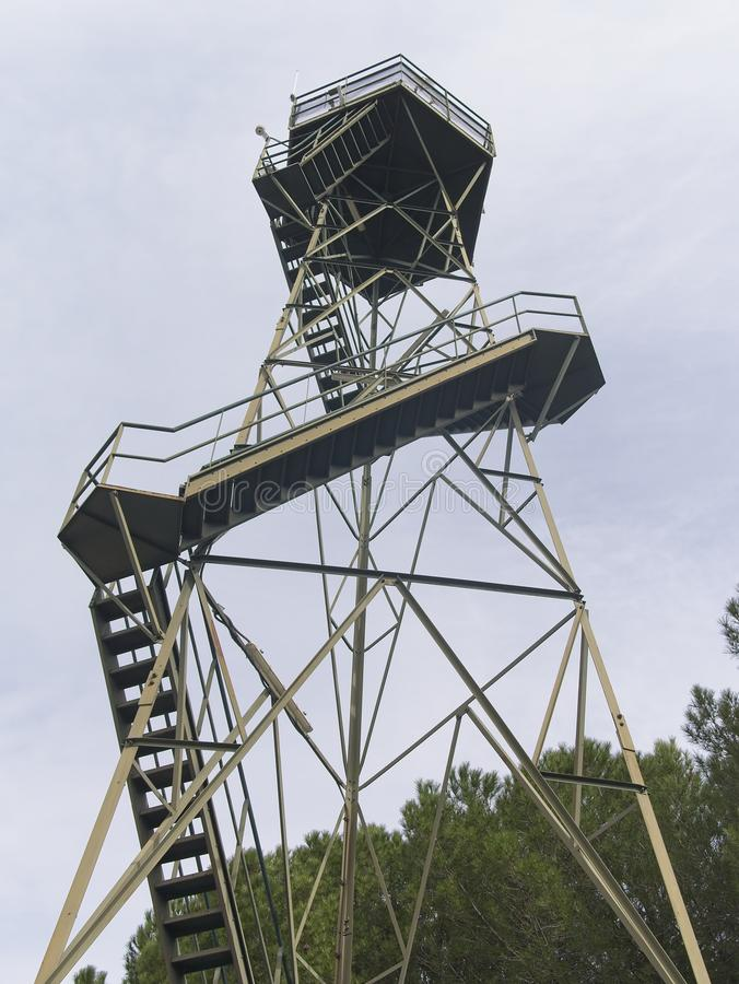 Old rusty steel forest fire lookout tower. royalty free stock photos