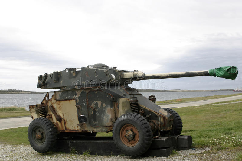 Old, rusty tank from Falkland war royalty free stock photos