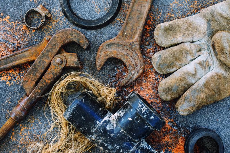 Old rusty tools for plumbing work royalty free stock image