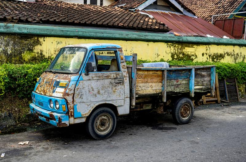 Old and rusty truck car in Jogjakarta Indonesia. Photo taken August 2017 in Indonesia stock photography