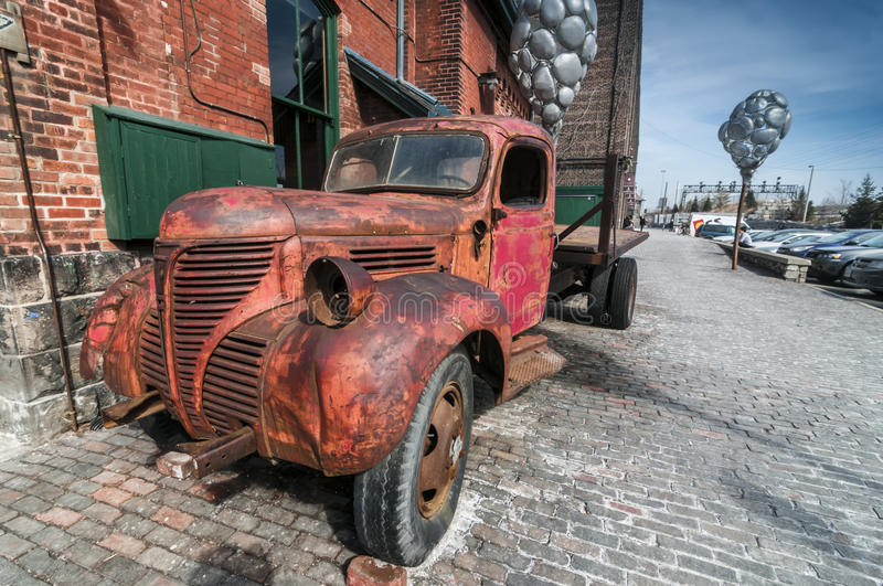 Old rusty truck at Distillery district Toronto stock images
