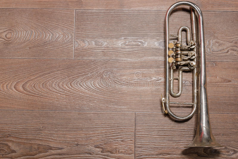 Old rusty trumpet royalty free stock photos
