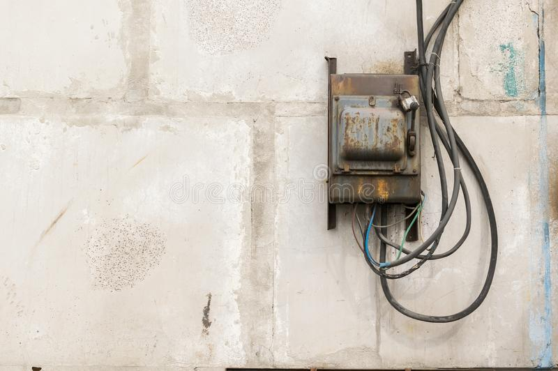 old rusty unkempt electric shield with a switch stock images