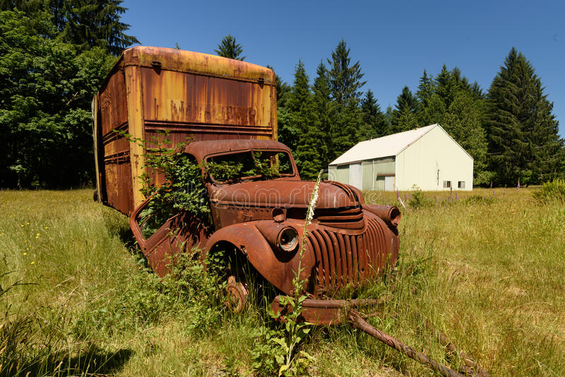 Old rusty van stock photos