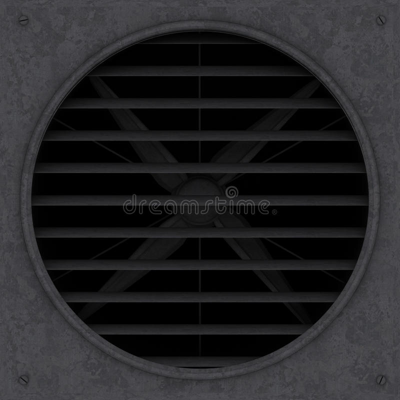 Old rusty ventilation fan with jalousie 3d illustration render stock photos