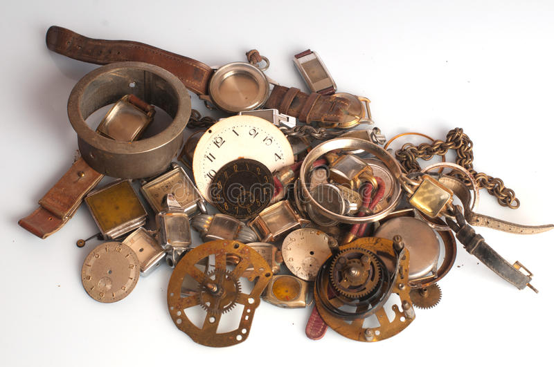 Old Rusty Watch Parts stock photo