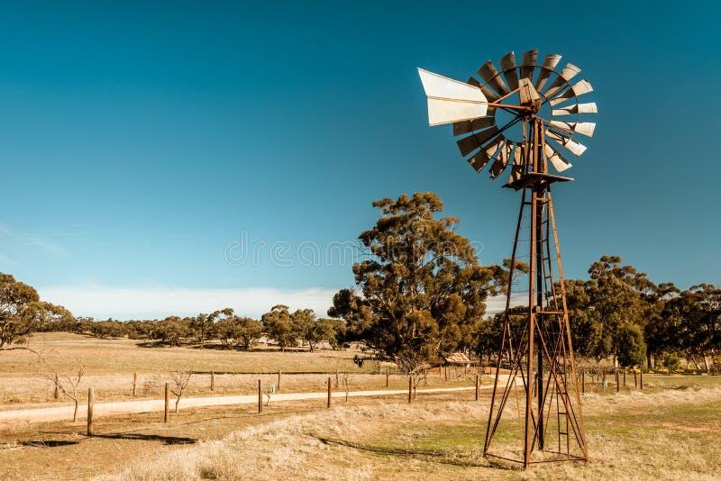 Old rusty windmill near Barossa valley stock image