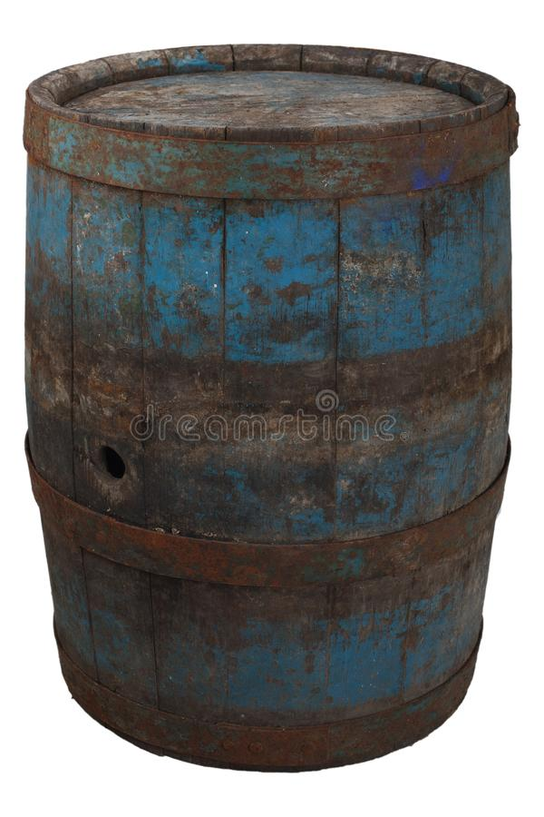 Old rusty wooden barrel. Isolated on white royalty free stock images