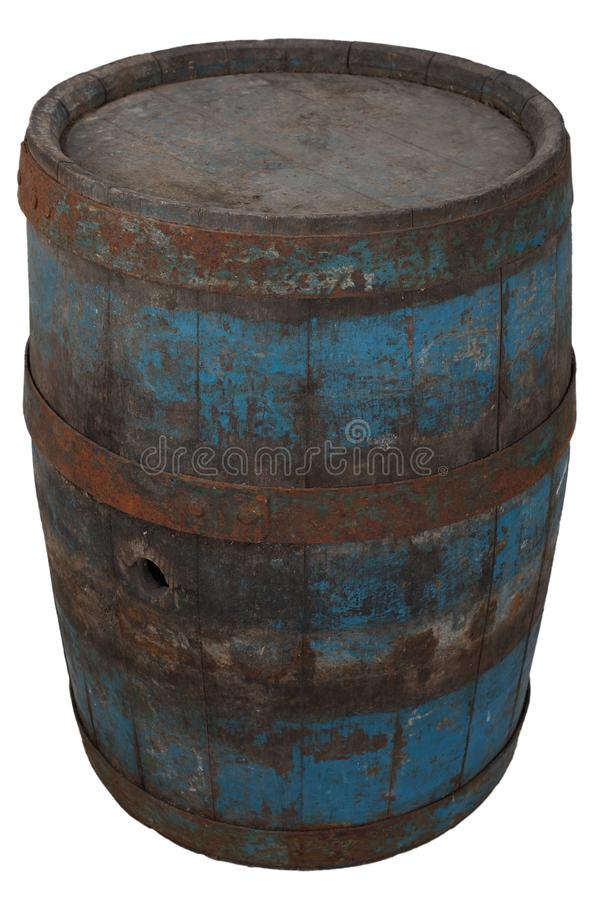 Old rusty wooden barrel. Isolated on white stock photo