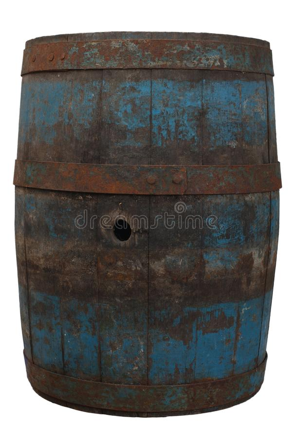 Old rusty wooden barrel. Isolated on white royalty free stock image