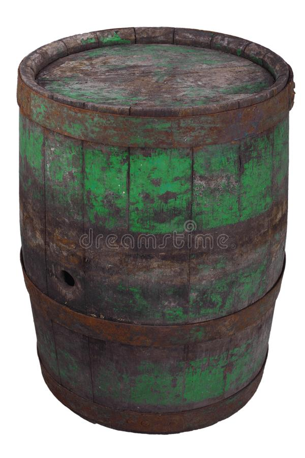 Old rusty wooden barrel. Isolated on white stock photos