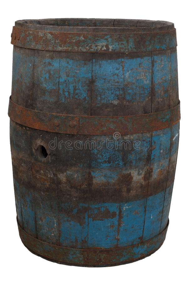 Old rusty wooden barrel. Isolated on white royalty free stock photo