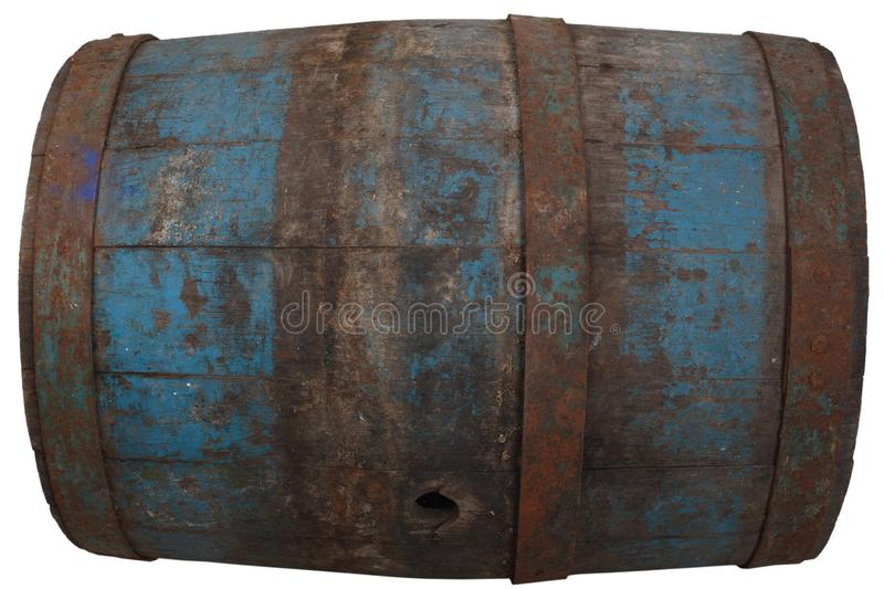 Old rusty wooden barrel. Isolated on white stock photography