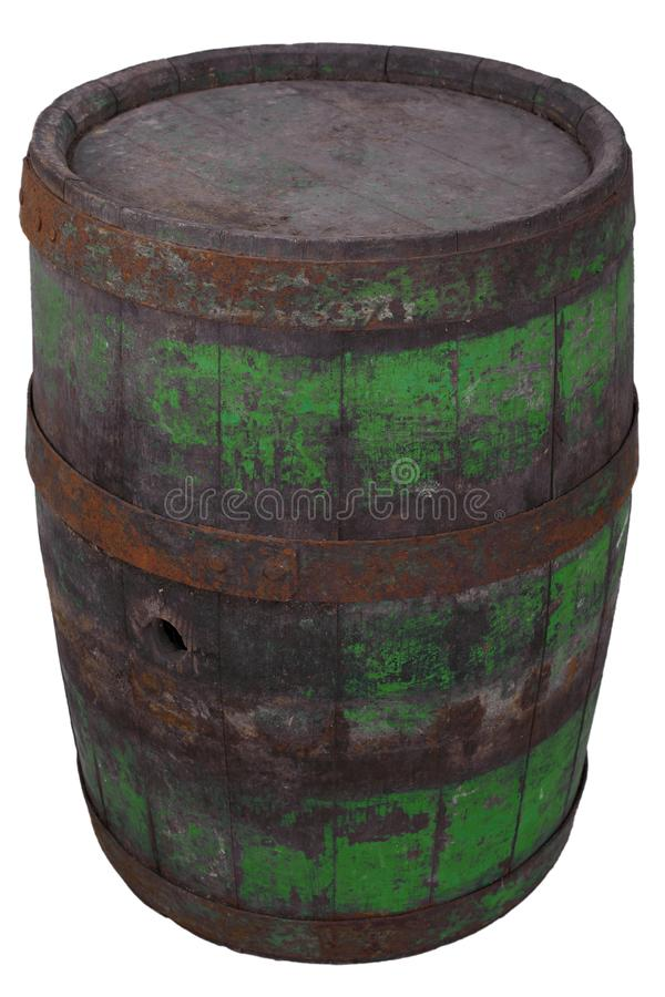 Old rusty wooden barrel. Isolated on white royalty free stock photos