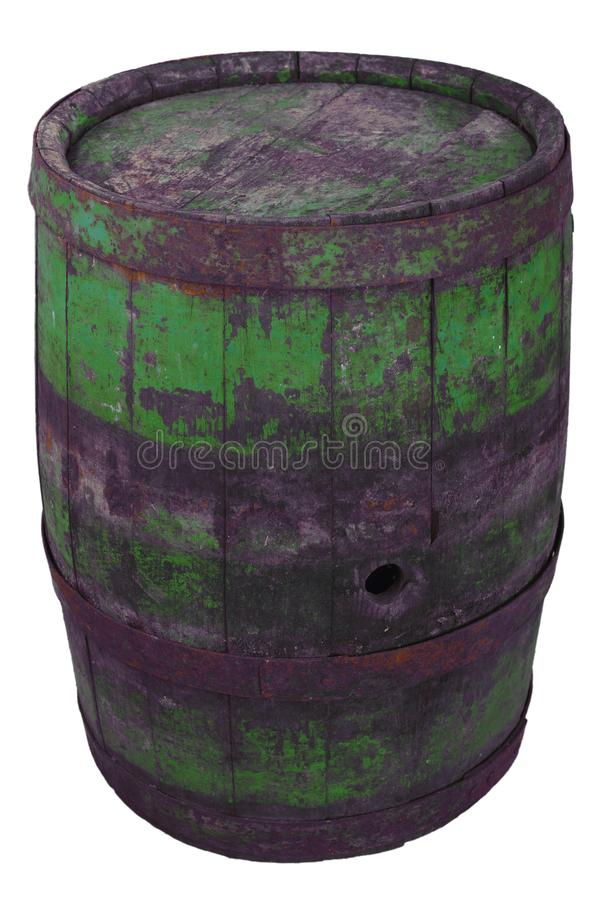 Old rusty wooden barrel. Isolated on white stock images