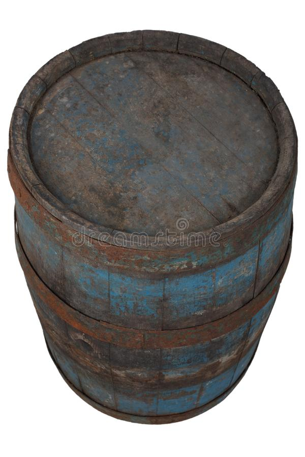 Old rusty wooden barrel. Isolated on white royalty free stock photography