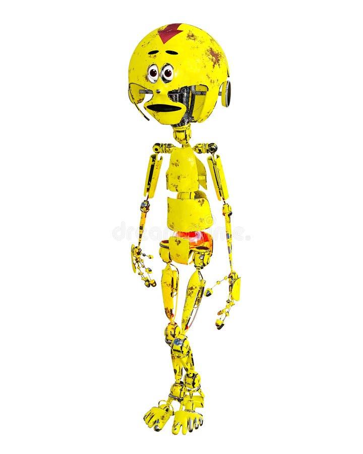 Old sad yellow metal mechanical robot llustration. royalty free illustration
