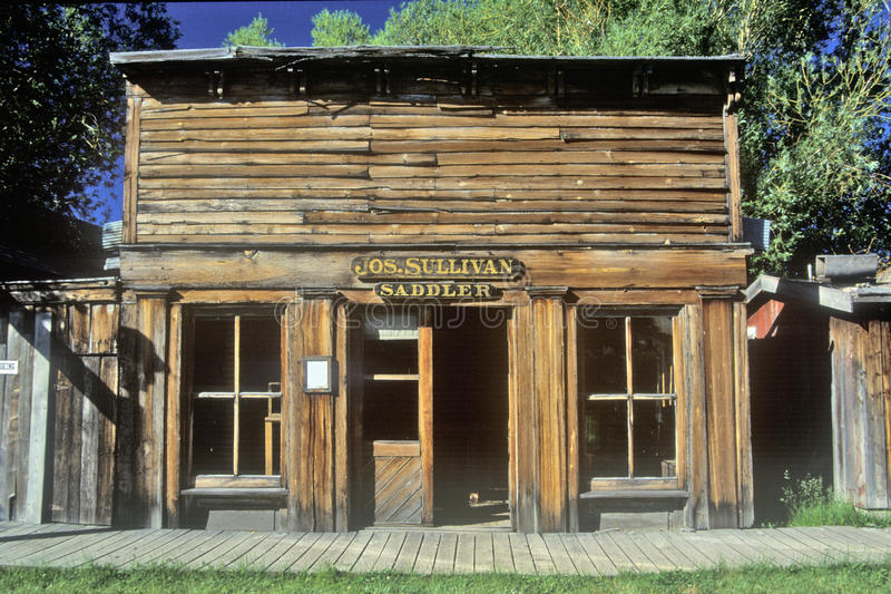 Old Saddler building in Ghost Town near Virginia City, MT royalty free stock photo