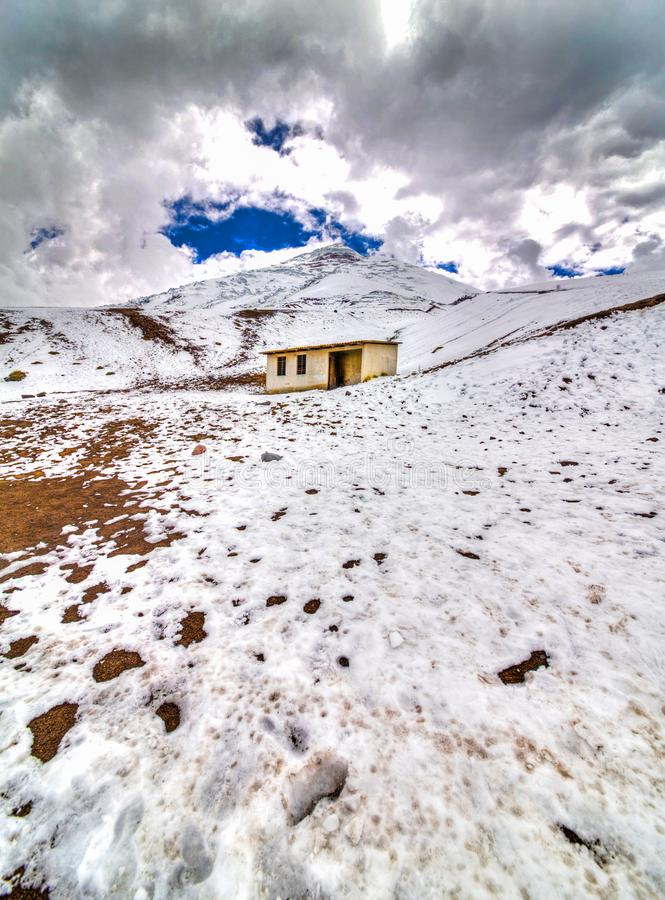 Old safe house at the Cotopaxi. Small safe house on the slopes of the Cotopaxi volcano, in the Cotopaxi National Park, Ecuadorian Andes royalty free stock photos
