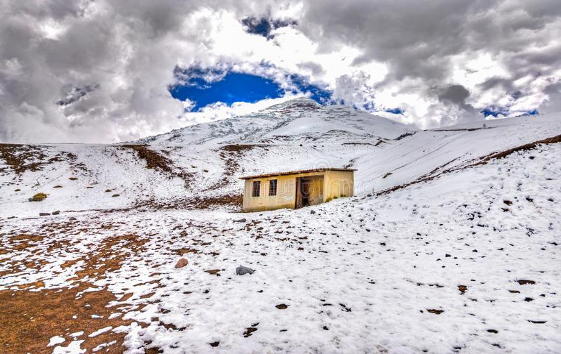 Old safe house at the Cotopaxi. Small safe house on the slopes of the Cotopaxi volcano, in the Cotopaxi National Park, Ecuadorian Andes royalty free stock image
