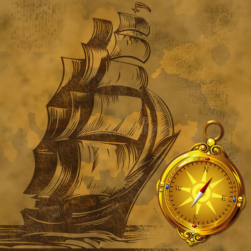 Old sail ship with ancient compass