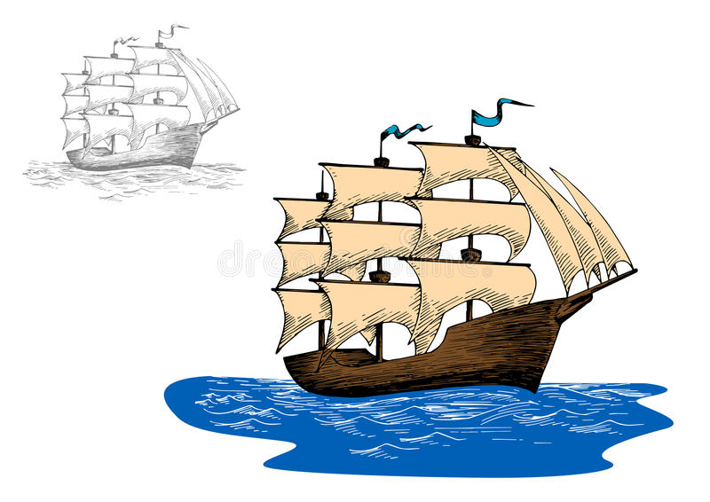 Old sailing ship in calm blue ocean. Old wooden sailing ship with full sails in calm blue ocean, for marine or adventure design stock illustration