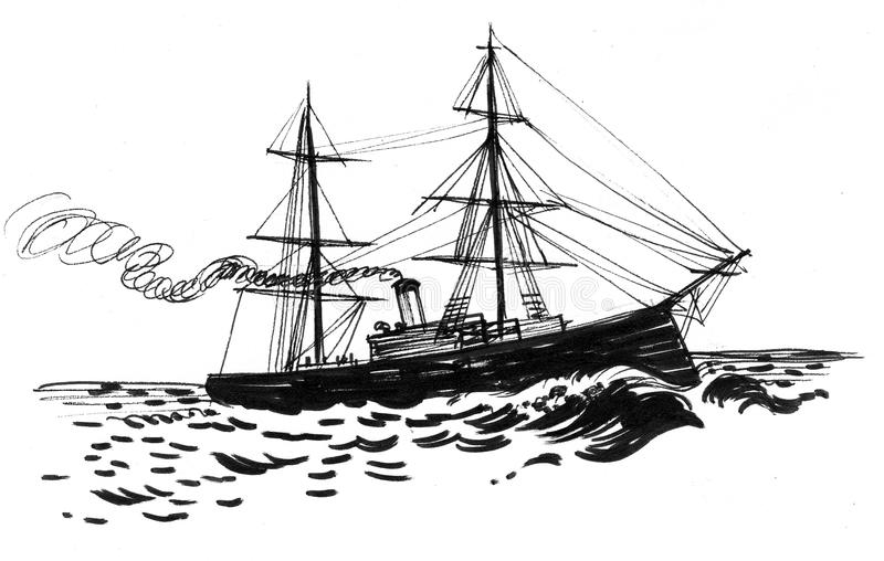 Old sailing ship. Ink black and white drawing of a sailing ship stock illustration